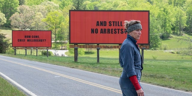 "Frances McDormand in the movie ""Three Billboards Outside Ebbing, Missouri."""
