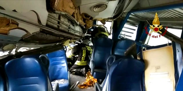 Passengers recalled the train car caving in after hearing a loud bang.