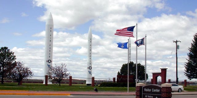 Three types of missiles flank the main gate of F.E. Warren Air Force Base, Wyoming.