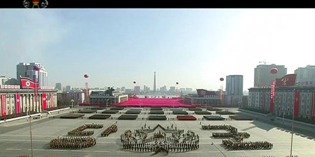 North Korea held a massive military parade on the eve of the Olympics.