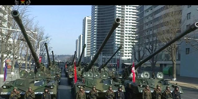 Tanks and ICBMS were displayed during the parade
