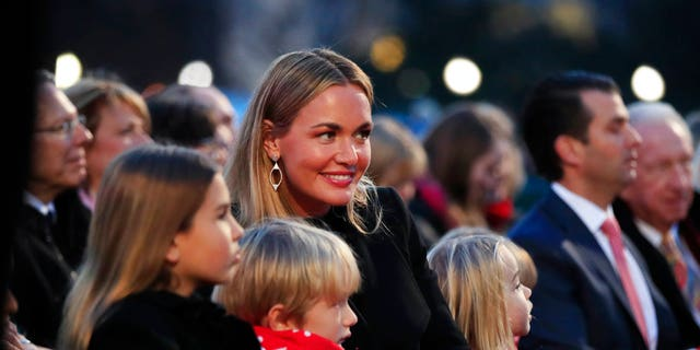 Vanessa Trump, center, was taken to a hospital in New York City Monday after opening a letter containing white powder.