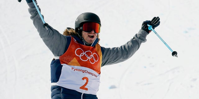 Gold medal winner David Wise, of the United States, reacts to his run during the men's halfpipe final.