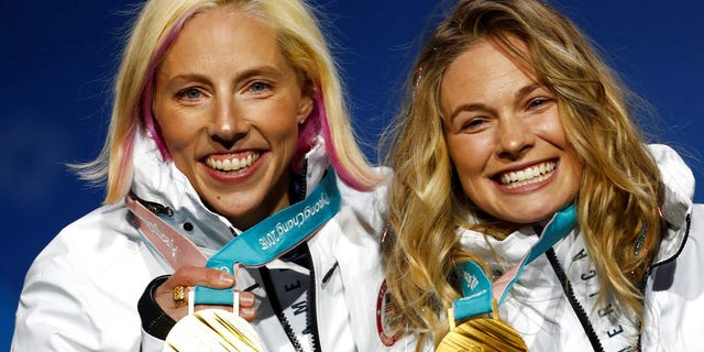 Kikkan Randall and teammate Jessica Diggins took home the gold in the women's sprint free relay.