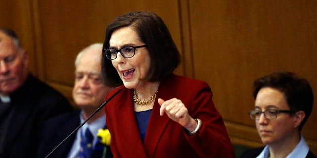 January 9, 2017: Oregon Gov. Kate Brown delivers her inaugural speech in the Capitol House chambers in Salem, Ore.