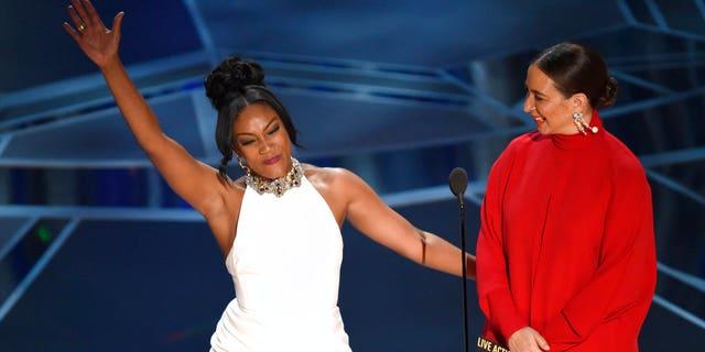 Tiffany Haddish jokes around on stage at the Oscars.