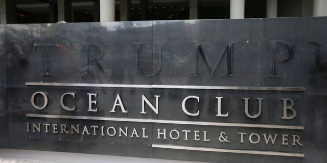 A marquee with the word Trump removed, is seen outside the Trump Ocean Club International Hotel and Tower in Panama City, Monday, March 5, 2018.