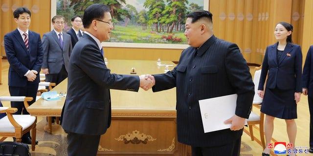 Kim Jong Un and South Korean National Security Director Chung Eui-yong in Pyongyang.