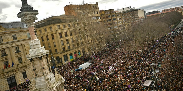 Thousands of demonstrators protest male violence against women and demanding an equality labour opportunities at the Paseo Sarasate Promenade.