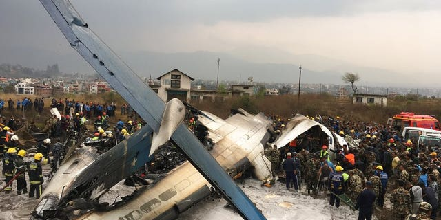 The plane burst into flames after attempting to land at Kathmandu airport.