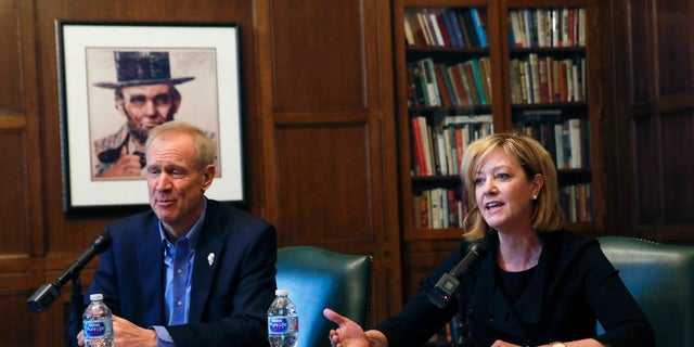 Conservative state Sen. Jeanne Ives (right) is challenging incumbent Gov. Bruce Rauner (left) in the Republican gubernatorial primary.