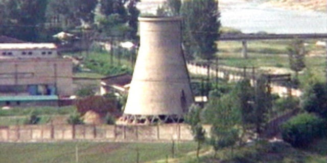 In this June 27, 2008, file photo from television, the 60-foot-tall cooling tower, which was later dismantled, is seen at the main Yongbyon nuclear reactor complex in Yongbyon, North Korea.