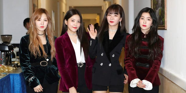 South Korean girl band Red Velvet is seen after their performance in Pyongyang, North Korea, on Sunday, April 1, 2018.