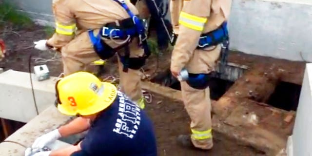 Jesse Hernandez was rescued after spending more than 12 hours in the Los Angeles sewage system.