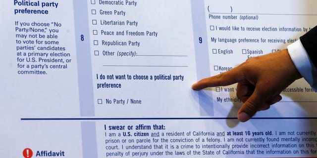 """California's new voter registration cards will provide the option to check """"No Party/None"""" for those who wish to not register with a political party."""