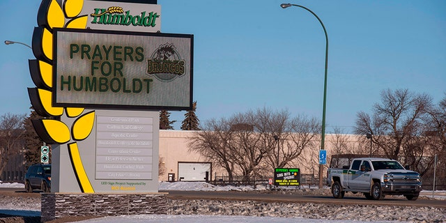 The welcome sign in Humboldt, Saskatchewan, Canada, honoring the members of the Humboldt Broncos hockey team in on Saturday.