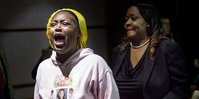 Jasmine Mateen, mother of bus crash victim Zyaira Mateen, shouts as she is escorted from the courtroom during a sentencing hearing for Walker on Tuesday.