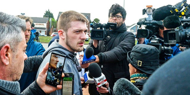 Alfie's father, Tom Evans, speaks to the media outside Alder Hey Children's Hospital in Liverpool, England.
