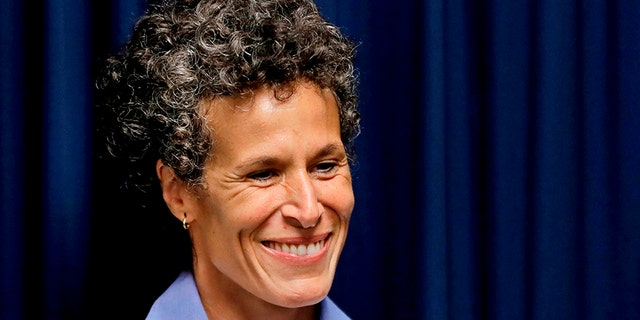 Bill Cosby accuser Andrea Constand smiles as she listens during a news conference after Cosby was found guilty in his sexual assault retrial on Thursday.