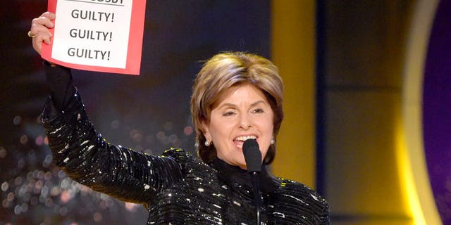 """Gloria Allred yelled """"Bill Cosby. Guilty! Guilty! Guilty!"""" on stage."""