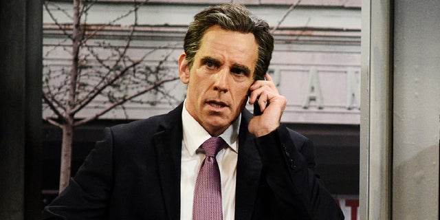 """This image released by NBC shows Ben Stiller portraying attorney Michael Cohen during an appearance on """"Saturday Night Live"""" in New York on Saturday, May 5, 2018."""