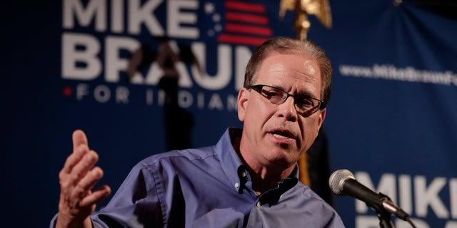 Senate candidate Mike Braun thanks supporters after winning the GOP primary in Indiana. He advances to a November matchup with Democrat Joe Donnelly, who is considered one of the Senate's most vulnerable incumbents.