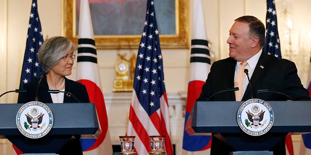 Secretary of State Mike Pompeo, right, spoke during a news conference with South Korean Foreign Minister Kang Kyung-wha at the State Department on Friday.