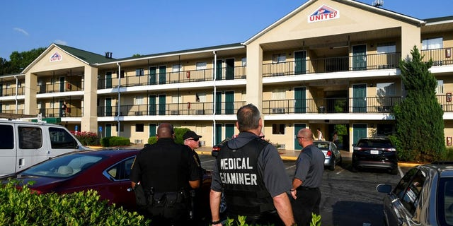 Three Georgia police officers were sickened by an unknown chemical when they entered a motel room with a dead body inside.