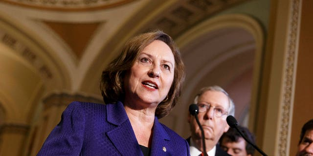 In this April 8, 2014, file photo, Sen. Deb Fischer, R-Neb., accompanied by Senate Minority Leader Mitch McConnell of Ky., talks during a news conference on Capitol Hill in Washington.