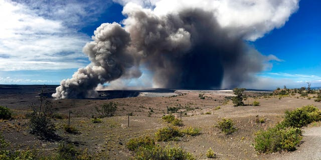 This photo from the U.S. Geological Survey shows activity at Halema'uma'u Crater that has increased to include the nearly continuous emission of ash with intermittent stronger pulses at Hawaii Volcanoes National Park on the island of Hawaii at around 9 a.m. Tuesday, May 15, 2018.