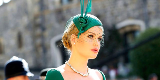 Lady Kitty Spencer arrives at St. George's Chapel at Windsor Castle for the wedding of Meghan Markle and Prince Harry.