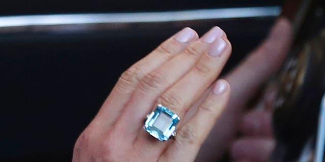 Meghan Markle wore Princess Diana's emerald-cut aquamarine ring to the wedding reception. (