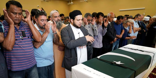 Funeral prayers are offered for Pakistani exchange student Sabika Sheikh, who was killed in the Santa Fe High School shooting, during a service at the Brand Lane Islamic Center Sunday, May 20, 2018, in Stafford, Texas.