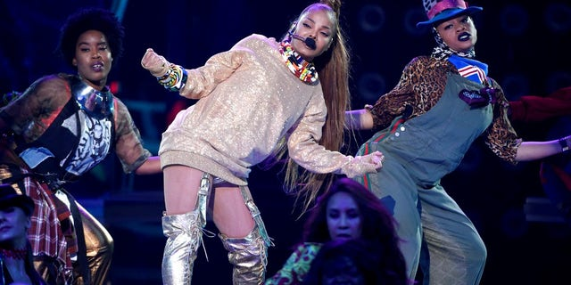Janet Jackson performed a medley of hits before giving an impassioned speech.