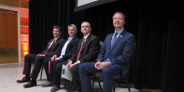 From left, Russell Fagg, Troy Downing, Matt Rosendale and Al Olszewski are competing for the chance to challenge Democratic Sen. Jon Tester this fall.