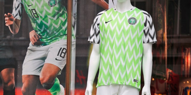 A Nigerian national soccer team jersey is on display at a shop in London.