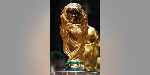 The FIFA World Cup trophy is on display in Moscow.