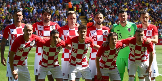 In this June 3 photo, the Croatia team poses for photographers prior to a friendly soccer match.