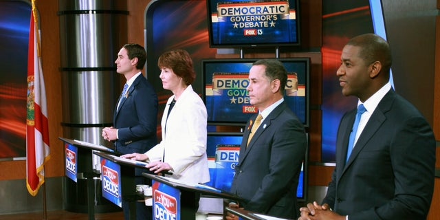 Tallahassee Mayor Andrew Gillum, Miami Beach Mayor Philip Levine, former U.S. Rep. Gwen Graham, and businessman Chris King participated he first gubernatorial debate in the Democratic primary in Tampa, Fla. in June.