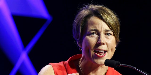 Massachusetts Attorney General Maura Healey speaks in Worcester, Mass., June 1, 2018.