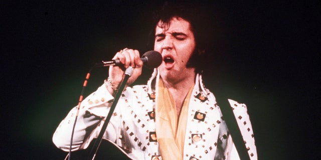 In this 1973 file photo, Elvis Presley sings during a concert. A private jet once owned by Presley that has sat on a runway in New Mexico for nearly four decades is back on the auction block.