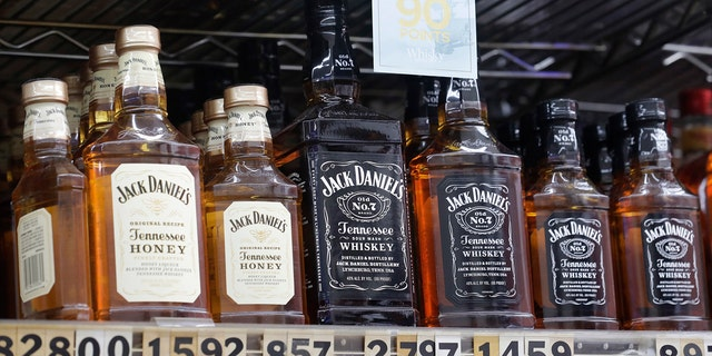 Bottles of Jack Daniel's liqueur and whiskey are displayed at Rossi's Deli in San Francisco, July 9, 2018.