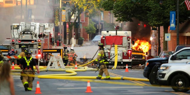 The explosion rocked the downtown area of Sun Prairie, a suburb of Madison, after a contractor struck a natural gas main Tuesday.