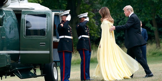 The first lady has been praised for her gown across social media.