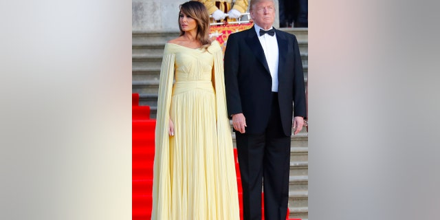 FLOTUS stood out with a pale yellow chiffon gown from French label J. Mendel.
