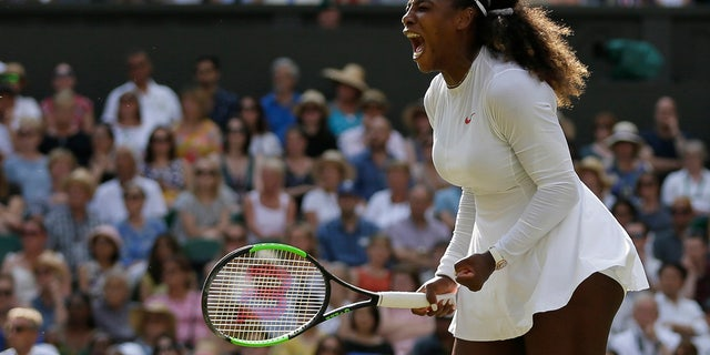 Serena Williams of the United States celebrates winning a point during her women's singles final match against Germany's Angelique Kerber at the Wimbledon Tennis Championships, in London, Saturday July 14, 2018. (AP Photo/Tim Ireland)