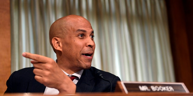 U.S. Sen. Cory Booker, D-N.J., participates in a Senate Foreign Relations Committee hearing on Capitol Hill in Washington, July 25, 2018.