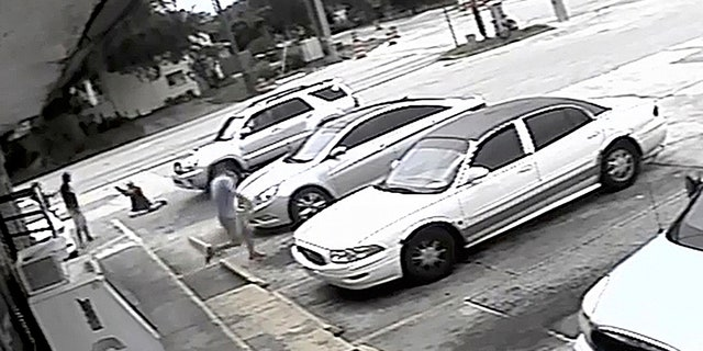 Markeis McGlockton, far left, is shot by Michael Drejka during an altercation in the parking lot of a convenience store in Clearwater, Fla., in July 2018.
