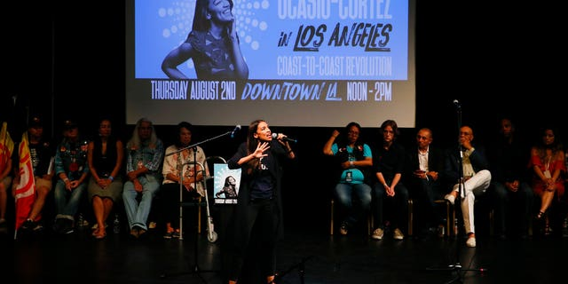 Alexandria Ocasio-Cortez fundraises in Los Angeles.