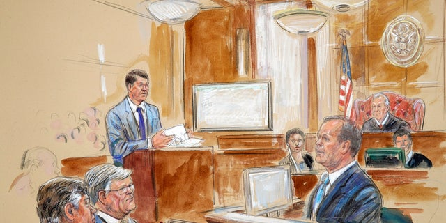 Prosecutor Greg Andres, standing at left in this courtroom sketch, has been rebuked multiple times for how he's looked at or spoken to Judge T.S. Ellis in court.